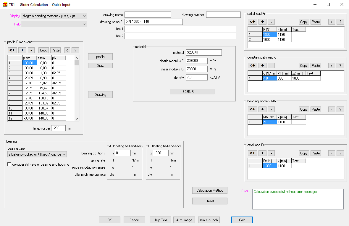 Tr1 girder calculation path load and bending moment altogether in one dialogue window calc button calculates the girder and shows results as selected at display options pooptronica Gallery