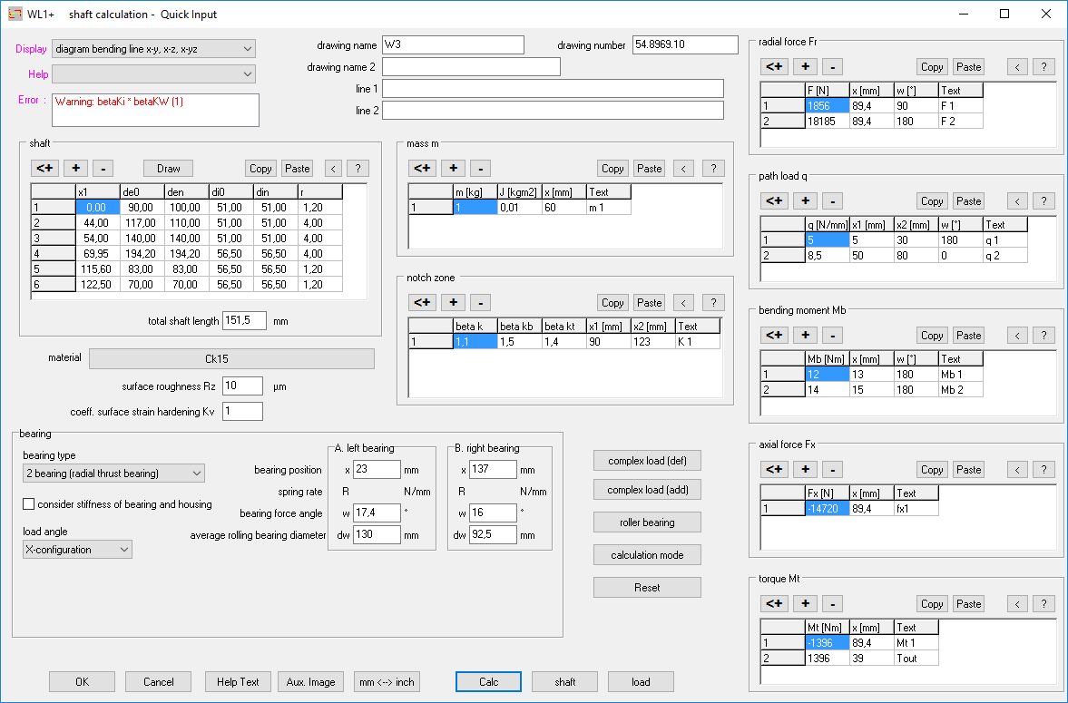Wl1 shaft calculation click calc button for shaft calculation and select at display result as graphic tables drawing diagram pooptronica Gallery